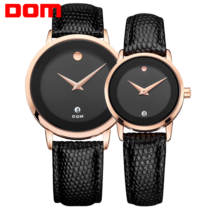 DOM lovers couple watches luxury brand waterproof style quartz leather watch gold watch MS-375+GS-1075<br><br>Aliexpress