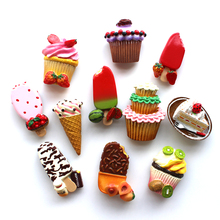 3D Fridge Magnet Fruit flavor Popsicles Three-dimensional Magnet stickers ice cream magnet Cake refrigerator Home Decorations