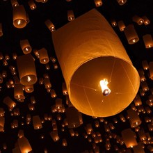Chinese Lanterns Fire Sky Flying Paper Candle Wish Lamp for Birthday Wish Party Wedding Multicolor Paper Decoration