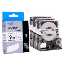 3pcs self-adhesive laminated Black on Clear printing compatible label cartridge for Epson LC-3TBW(China)