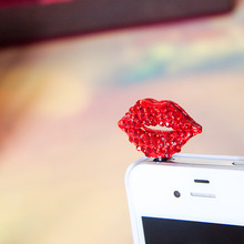 I miss you red lips phone dust plug cell phone accessories 3.5mm earphone dust plug(China)