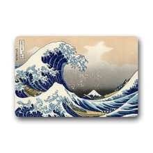 Custom Japanese The Great Wave Off Kanagawa Doormat Machine Clean Top Fabric & Non-slip Rubber Backing Indoor Outdoor Door Mats