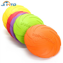 Interactive Train Outdoor  Eco-friendly Silicone Rubber Dog Frisbee Pet Tooth  Resistant Fetch Training Flying Disc Playing Toy