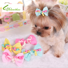 Cute Pet Dog Hair Clips Fashion Pet Dog Bows Hair Clips Style Boutique Pet Grooming Hair Accessories Yellow Pink Rose and Blue
