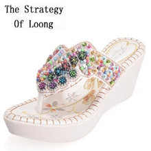 Women Summer Chunky Heels Beading Crystal Wedges Slippers 2018 New Arrival  Bohemia Style Fashion Sexy Lady Beach Flip Flops 93207b10a685