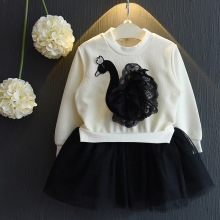 Little Girls Skirt Lace Floral Clothing Set Baby Kids Girl Long Sleeve Swan Tulle Skirts Outfits Costume 3-7T Clothes