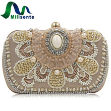 Milisente Brand Women Clutch Bags Pearl Beaded Evening Bag Wholesale Bridal Wedding Party Purse Camel Crossbody bag