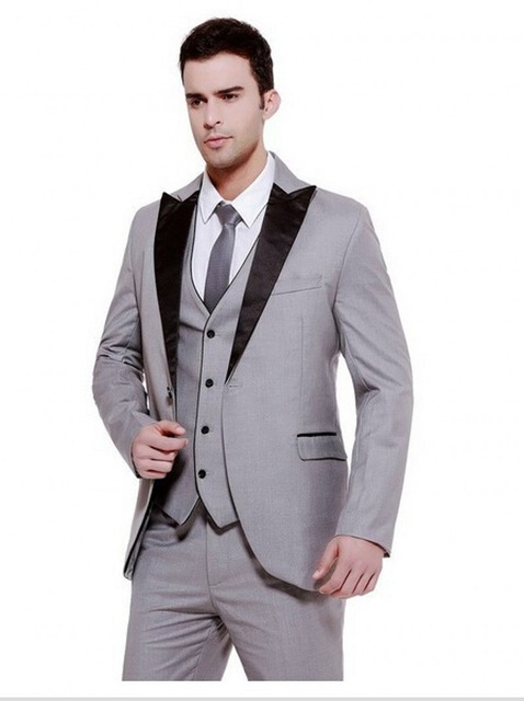 Mens Formal Business 3 Piece Suit Groom Tuxedos Slim Fit Peak Lapel Wedding Men Suit Single Breasted Evening Prom Blazer