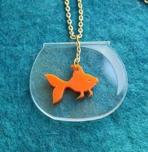 Lovely acrylic The fish tank goldfish pendant necklace for girl women unisex personality fashion pet fish necklace jewelry(China)