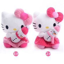 New Arrival Plush Doll Stuffed Pink Hello Kitty Hang the Snowman Hello Kitty Cat Sucker Hang Kids for Girls Gifts Doll Toy 7''(China)