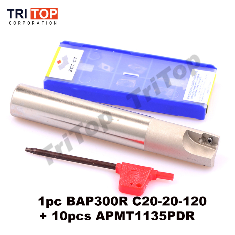 BAP 300R C20-20-120 with 10pcs APMT1135PDR LENGTH 120 Milling tool holder face mill for cnc milling machine for insert APMT1135<br><br>Aliexpress