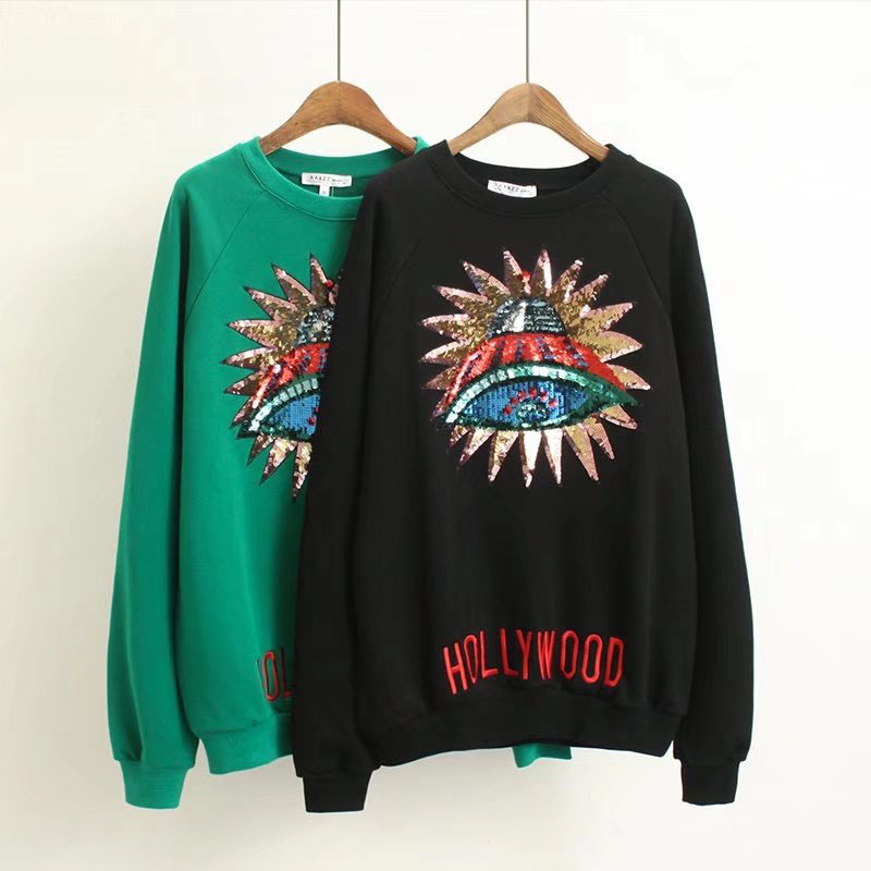 Runway Designer Women New vintage 3D UFO Sequins sweaters long sleeve pullovers winter autumn knitted Jumper retro tops Clothing
