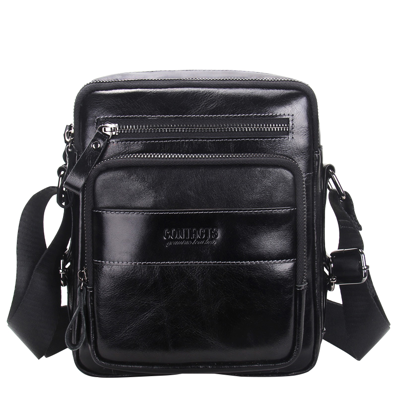 High Quality Cow Leather Vintage Mens Crossbody Bags European Style Genuine Leather Messenger Bag Mens Single Shoulder Bags<br>