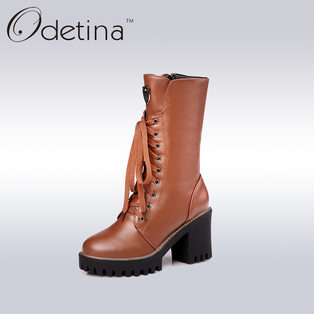 Odetina Handmade Brown Lace Up Boots Large Size 2016 Winter Boots Chunky Heel Women Mid Calf Boots Platform Botas Largas Mujer<br>