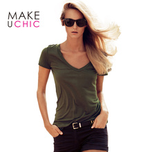 MAKEUCHIC Apparel Army Green Women T shirt Casual Short Sleeve Sexy V Neck Female Pullovers Streetwear Brief Style Ladies Tees