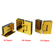 High Quality 2PCS 304 Stainless Steel Frameless Shower Glass Door Hinges Titanium Gold Glass Fixed Clamps Clips Holder Brackets(China)