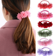 1Pc/lot Chiffon Flowers Children Baby Girls Hair Accessories Rubber Bands Barrettes Girl Headwear Bow