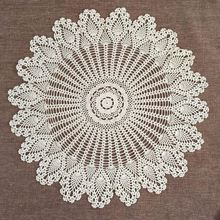 "Table Topper Flower Tablecloth 32"" Crochet Lace Round Cloth Cotton Doilies Cover For Wedding Home Decor Beige/White"