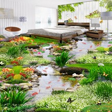 Free Shipping 3D Flooring Design Water Green Space Carp Stream thicken floor wallpaper mural