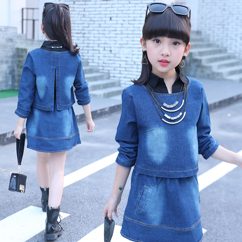 Spring Autumn Baby Kids Toddler Teenage Girls Set Clothes Fashion 2018 Girls Clothing Sets Long Sleeve Denim Tops + Dress X6<br>