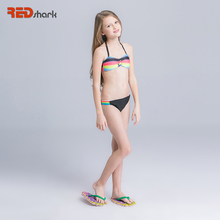 REDshark 2017 Color stripes bathing suits kids girl swimwear swimsuit Cute Bathing Suits Children Swim Wear