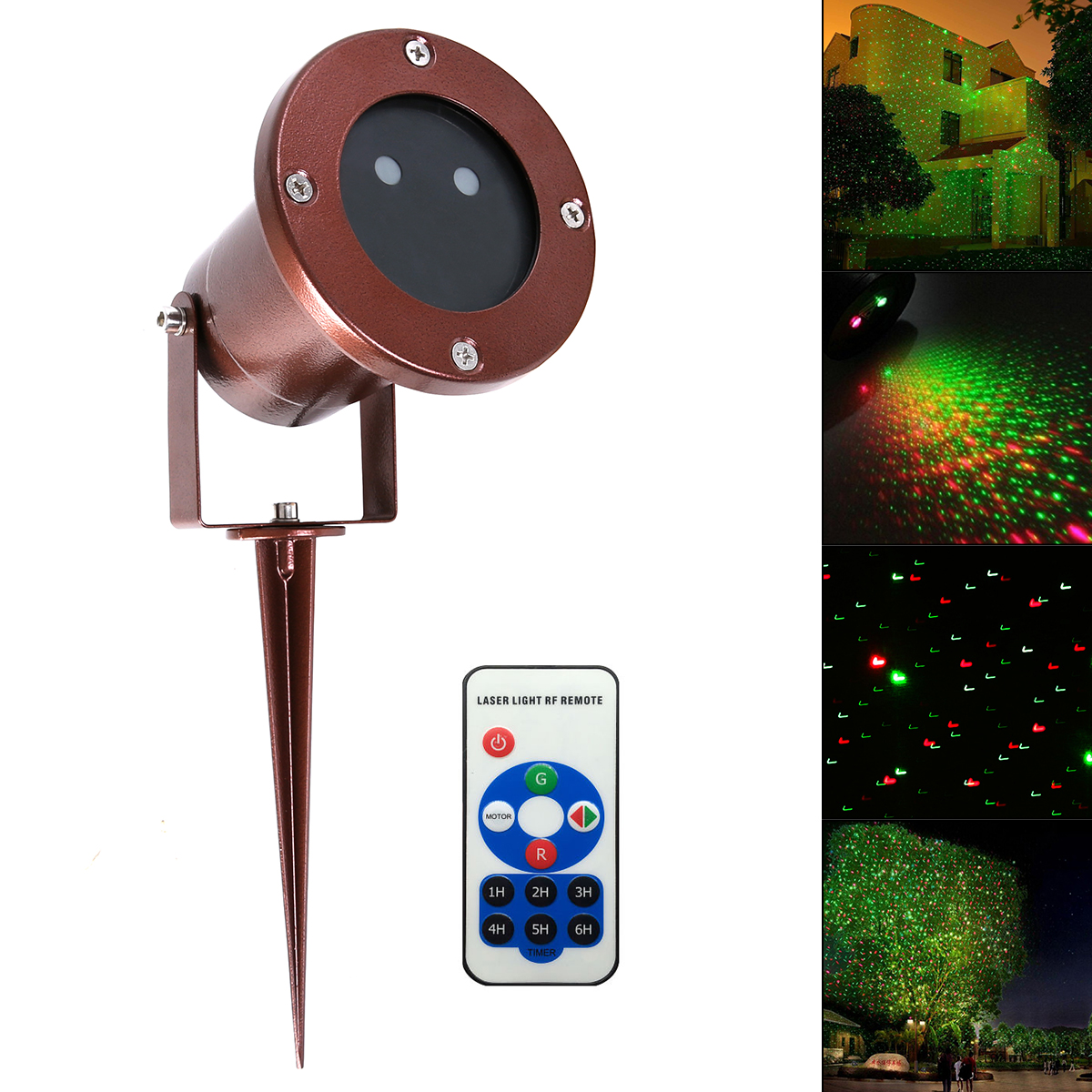 Waterproof Green &amp; Red Garden Tree Laser Light Landscape Bronze Star Projection Lamp with RF Remote for Festival Outdoor<br>