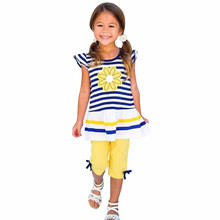2017 Sale  Kids summer suit girls Daisy Flower Stripe Shirt Top Bow Pant Set Clothing girls summer clothes vetement enfant