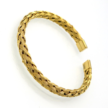 New Arrival Fashion Cuff Bangles Jewelry Women's Stainless Steel Weave Simple Style Gold Color Bracelets For Women's Jewelry