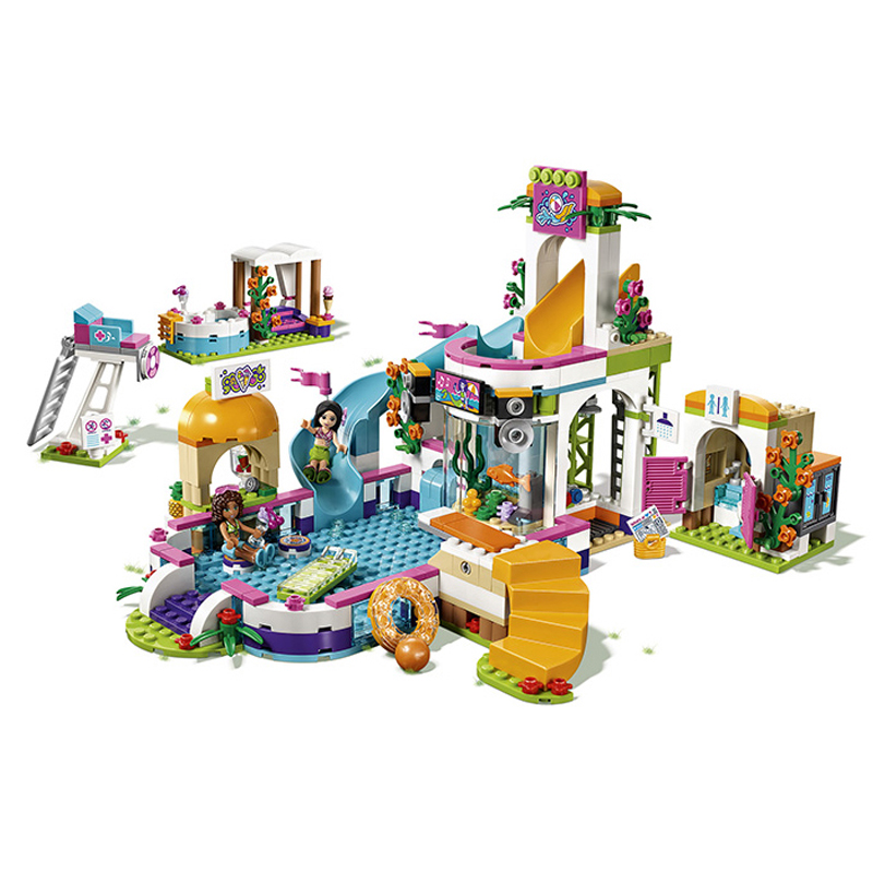 01013 City Girls Club The Heart Lake Summer Pool Friends 41313 Building Block Bricks Toys For Children Christmas Gift Legoings<br>