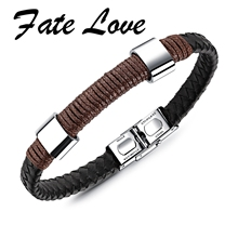 Buy Fate Love 2018 New Arrival Brown & Black PU Weaved Braided Men Ethnic Leather Bracelets Men Bangles Cool Jewelry Gifts FL1231 for $7.23 in AliExpress store