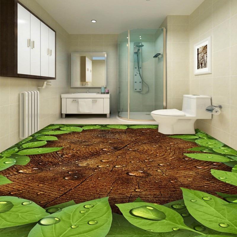 Free shipping custom living room self-adhesive wallpaper 3D Leaf Trees Ripple Water Bathroom Kitchen Bedroom Floor Painting<br><br>Aliexpress
