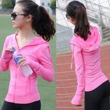 Autumn Winter Zipper Running Jackets Purple Long Sleeve Fitness Sports Hooded Coat With Pockets Green Women Slim Yoga Top Blue