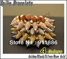 Best Selling,New Hip-Hop Punk Spike Rivet Stud Bracelets,Pave White Rhinestone Crystal Bracelets,4 Color to Choose,Free Shiping
