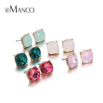 EManco Mode Minimaliste Coloré Géométrique Déclaration Boucles D'oreilles Ensembles pour les Femmes Cristal Opale Alliage Plaqué Or Bijoux 2016