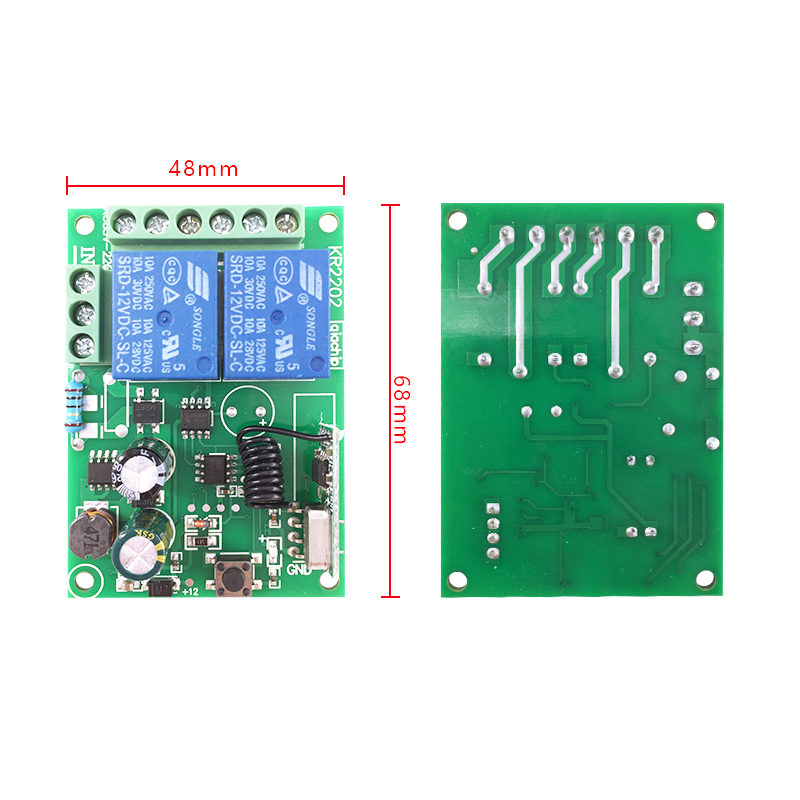 110V 220V 2 Channel Wireless Remote Control Switch Receiver Module Size
