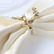 6pcs/lot Christmas deer napkin rings Silver / Gold Alloy napkin buckle napkin buckle hotel wedding party table decoration(China)