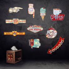Retro Las Vegas Led Neon Sign Cafe Coffee Pub Bar Illuminated Signboard Art Painting Wall Decoration Hanging Light Metal Signs