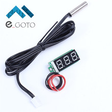 Red Digital Display Thermometer Temperature Meter Detector Module With NTC Metal Waterproof Probe 0.28 Inch DC 4-28V