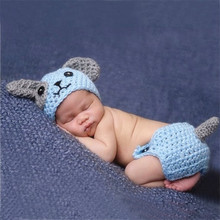 Cute Puppy Dog Newborn Baby Boys Photography Props Knitted Infant Animal Costume Boys Outfits Crochet Baby Hat Diaper Set Blue(China)