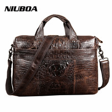 Men Shoulder Bags 100% Genuine Leather Messenger Bags Fashion Laptop Briefcase Crocodile Pattern High Quality Tote Handbags(China)