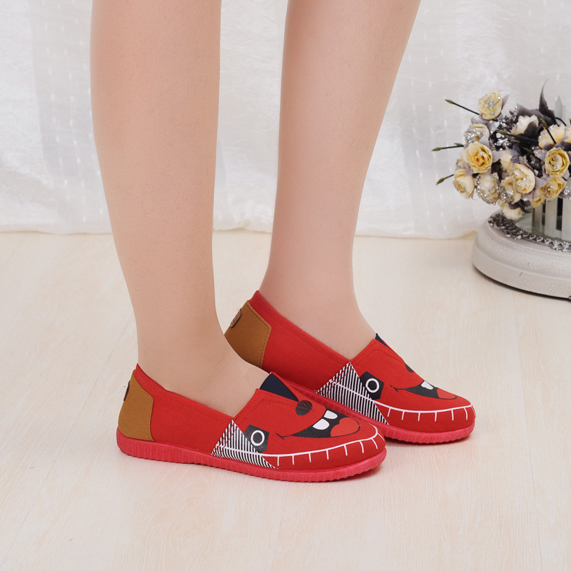 fashion cute mary shoes lady fashion work cute shoes monter printed red flat cloth shoes for leisure sapatos femininos<br><br>Aliexpress