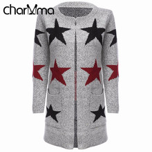 CharMma Cashmere Cardigan Women Long Sleeve Long Coat Star Print Female Spring Cardigan Knitted Sweater Ladies Open Stitch