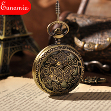 Skeleton Men's Watch Classic Mechanical Hand Wind Pocket Watch With Chain Butterfly Steel Mens Steampunk Pocket Watch PW084(China)