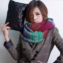 2015 brand desigual Winter Knitted Scarf bufandas Warm patchwork Long Shawls Crochet Scarves Women Knitted Cotton collar Scarf(China)