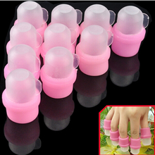 10pcs Wearable Nail Soakers Polish Remover Acrylic Tool Pink UV Gel Nail Cleaner