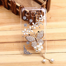 Fashion Butterfly Plastic bling Crystal Transparent skin cell phone back cover hard case For Samsung Galaxy A3 2016 SM-A310F(China)