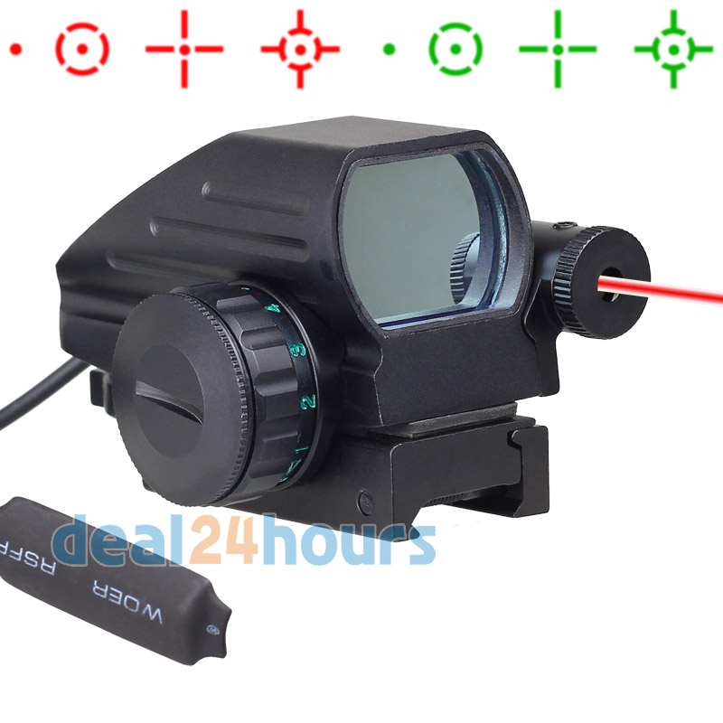 Tactical Holographic Reflex 4 Reticles Red/Green Dot Sight Scope w/Red Laser New Free Shipping!<br>