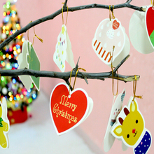 14 Pcs Cute Cartoon Animal Snowflake Biscuits Hanging Christmas Tree Ornament Paperborad Christmas Decorations Wholesale