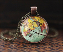 New Arrived Earth World Map Globe Dome Traveler Necklace Xmas Gifts(China)