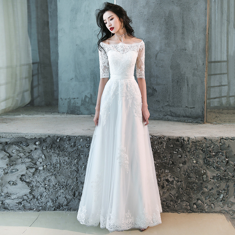 White Oriental Style Banquet Dresses Chinese Vintage Traditional Wedding Cheongsam Grandeur Evening Party Dress Size XS-XXXL